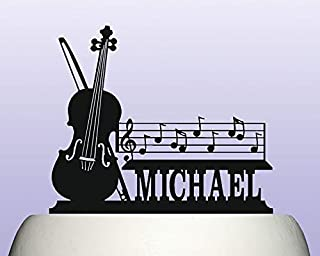 Personalised Acrylic Violin and Musical Notes Birthday Cake Topper Decoration