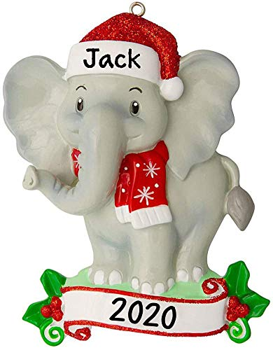 HOBBY HOME ACCESSORIES Personalized Zoo Animals Christmas Tree Ornament 2020 | Zoo Animal Present for Christmas Ornament - Free Customization (Elephant with Santa Hat)
