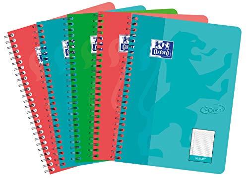 Oxford Touch Collegeblock B5, liniert, 80 Blatt, sortiert, 5er Pack