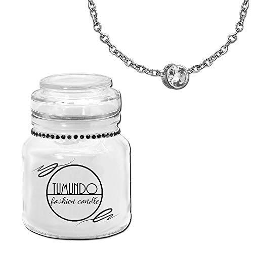 tumundo Fashion Candle Schmuck Kerze Weiß + Halskette und Anhänger Strass Kristall Zirconia Stern Kugel Schmuckkerze, Variante:Variante 1