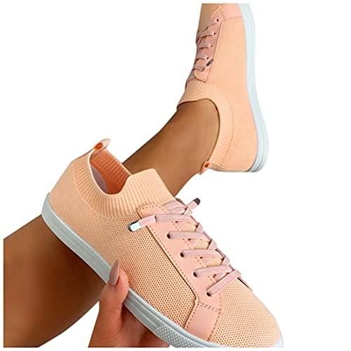 Dasongff Damen Schuhe für Freizeit Sport Training Freizeitschuhe Sneaker Sommerschuhe Slip on Sportschuhe Schnürer Schuhe für Fitness Halbschuhe Sommer Beiläufige Einfarbige Turnschuhe