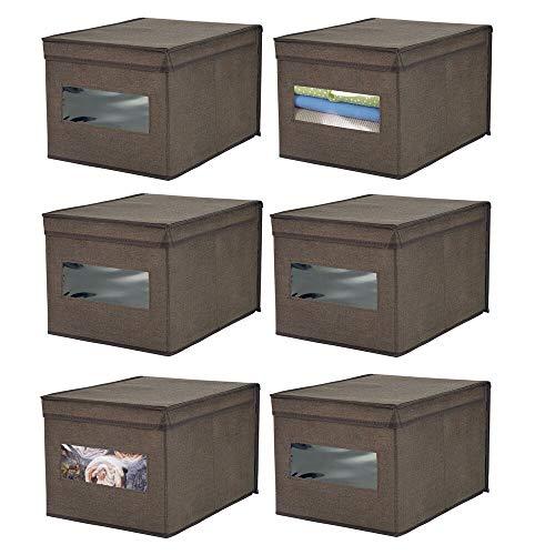 mDesign 6er-Set Stoffbox – praktische Aufbewahrungsbox mit Deckel und Sichtfenster für Schlaf-, Wohn- oder Badezimmer – stapelbare Schrankbox aus atmungsaktiver Kunstfaser – espressobraun