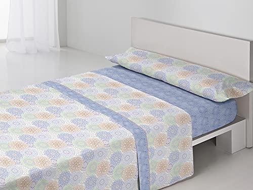 SEDALINNE - Juego sábanas Fabiola. Cama 90 cm. Azul