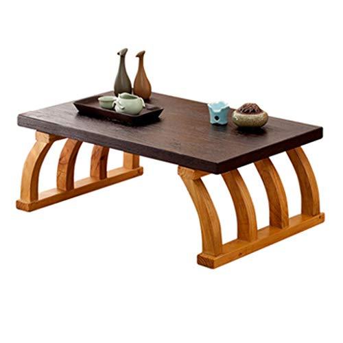 Tabelle Klein Massivholz Erker Couchtisch japanischer Stil Tatami Tisch Balkon Tischchen chinesische Schule Tisch Kalligraphie Tisch (Color : Brown-B, Size : 60 * 40 * 30CM)