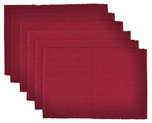 Yourtablecloth Ribbed Cotton Placemats – Placemat with Thicker Construction – Heavy Duty Eco Friendly Elegant Large Placemats –Set of 6 –Be it Restaurant or Home – Wine