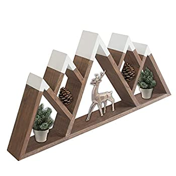 Mountainside Imports Floating Mountain Shelf – Large 5 Peaks 28 Inch Sustainable Acacia Wood  Classic Grey  Rustic Wooden Crystal Shelves for Home & Cabin Woodland Nursery Wall Decor