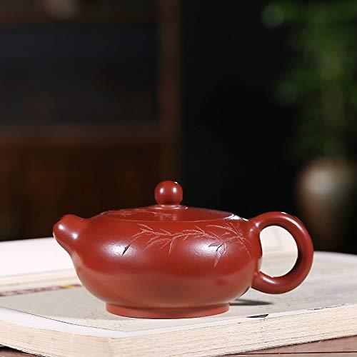 RANRANJJ 220ML Chinese Lila Ton Mini Bambusblätter-Tee-Topf Kessel Zisha Kung Fu Teekanne große Kapazitäts-Brown