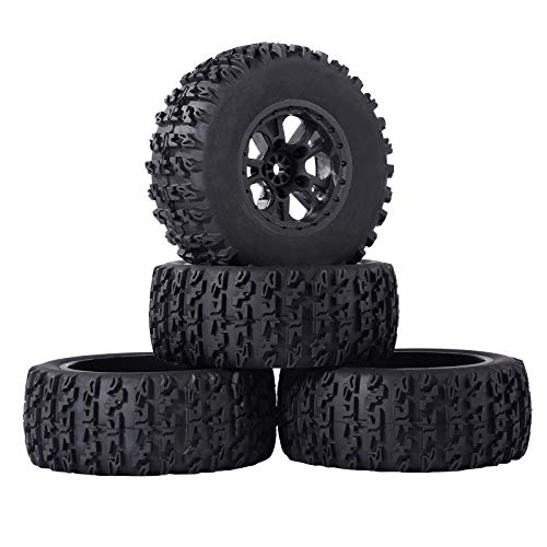 RC Station RC Short Course Truck Tires 1/10 Scale, High-Performance Pre-glued RC Wheel Rim and Tires Set 12mm Hex with Foam Inserts for Traxxas Slash HPI VKAR Redcat HSP LRP 4PCS Black