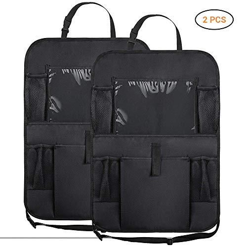 WSKIRNL 2Pcs Kick Mats Organizadores De Autos,Alquiler Backseat Organizador para Niños Kick Mats Asiento Posterior Coche Protector con Bolsa De Almacenamiento Multi Pocket