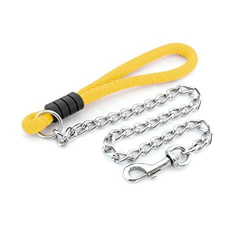 Mr.Doggy Guinzaglio per cani resistente con manico in nylon, guinzaglio in acciaio inox per passeggiare e durevole, per cani piccoli, medi e grandi (100 cm x 3 mm, giallo)