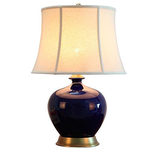 AODISHA-1 Lámpara De Mesa De Cerámica Azul Zafiro Estilo Chino Lámpara De Mesa De Dormitorio Sala De Estar Decorativa Dormitorio Botón De Encendido E27 Estudio Lámpara De Mesa Sombra De La Pantalla -D