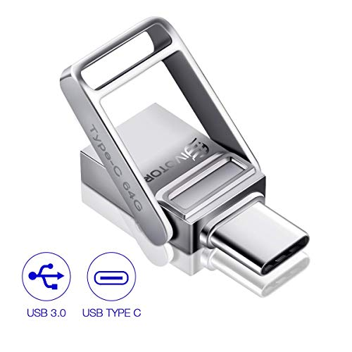 USB Flash Drive Type C, EIVOTOR Memory Stick 64GB USB C+ USB 3.0 OTG 2 in 1 Dual Drive Waterproof USB Stick with Keychain Metal for Computer, MacBook,Google's Chromebook Pixel,Samsung Galaxy