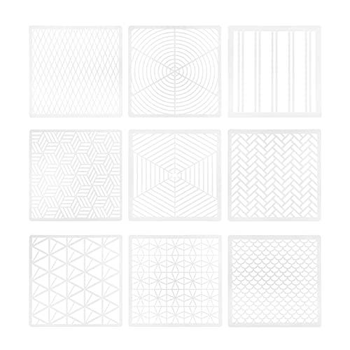HEALLILY 9 Piezas de Plantillas de Pintura Geométrica Plantillas de Dibujo de Festival de Punteo de Plástico Plantillas para Bricolaje- Decoración de Madera Aerógrafo Rocas Arte de Suelo Y