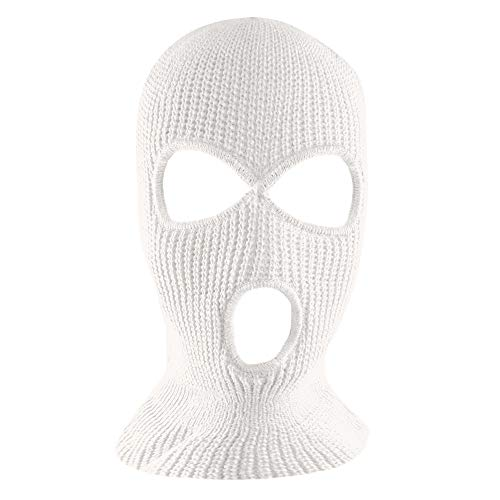 Knit Sew Acrylic Outdoor Full Face Cover Thermal Ski Mask by Super Z Outlet, White, One Size Fits...