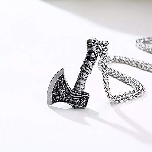 Astemdhj Collares para Hombre Colgantes Joyería Collar Vikings Hacha Colgante Norse Joyería Plata
