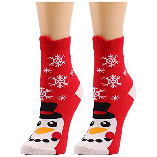 YWLINK Calcetines De Navidad Mujer Calcetines De Invierno AlgodóN Calcetines De Felpa CáLidos Calcetines Navidad Regalo Calcetines para Adultos Lindo Calcetines Calientes De Punto (D1, Talla única)