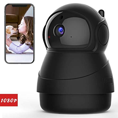 Linpu - Cámara de seguridad inalámbrica 1080P WiFi IP para vigilancia en casa, con visión nocturna, detección de movimiento para bebés y mascotas, Negro