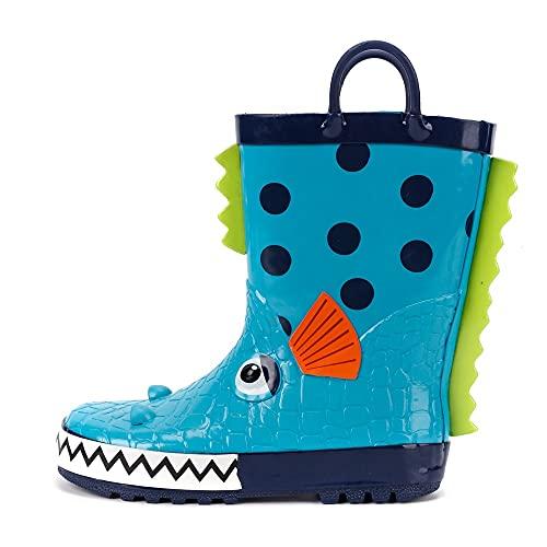 PPuujia Children's rubber boots waterproof rain boots for children cartoon piranha toddler boys rain boots toddler boots (Color : Blue, Shoe Size : 8)