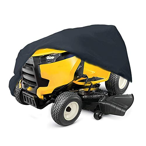 """2win2buy Riding Lawn Mower Cover, Heavy Duty Waterproof Polyester Oxford Tractor Cover UV & Dust & Water Resistant,Universal Fit Decks up to 54"""" with Drawstring & Storage Bag (Black)"""