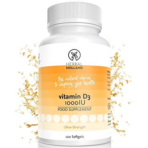 Herbal Holland Vitamin D3 - Maximum Strength Vitamin D Supplement for Optimal Bone, Teeth, Muscle & Immune Health - Pure Sunshine Vitamin D3 for Improved Mood - 120 Vitamin D Softgels