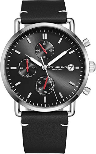 Stuhrling Original Chronograph Mens Watch Leather Watch Band Silver Dial with Date Minimalist Style 38mm Case - 3903 Watches for Men Collection (Black/Silver)