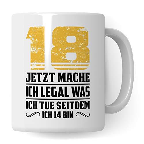 Pagma Druck Tasse 18. Geburtstag Geschenk, Volljährig Geschenkidee Becher, 18 Jahre alt Kaffeetasse, Junge Mädchen Geburtstagsgeschenk (Weiß/Weiß)