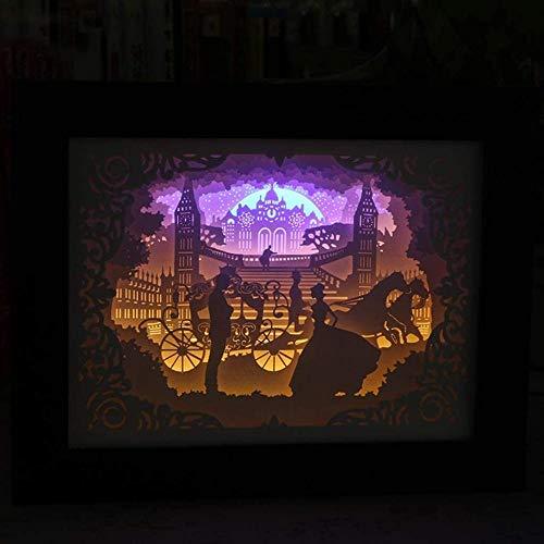GEZHF 3D Led Lámparas de noche Luz y Sombra Papel Talla Lámpara Papercut Sombra Caja San Valentín s Día Presente Decoración del Hogar Luces Ambiente