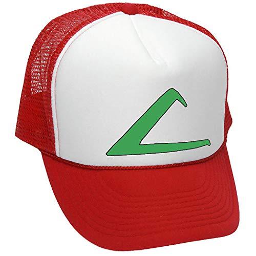 ASH Ketchum Cosplay Kostüm • Retro-Stil Trucker Cap Hut (rot)