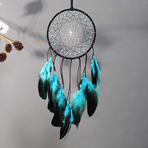 TEESHLY Dream Catcher with Bicolor Mesh, Handmade Dark Tone Dreamcatcher with Black and Turquoise Feather Wall Hanging Decoration