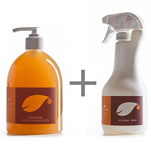 BIO Fettlöser - echte Schmierseife 500 ml SET Uni Sapon - Konzentrat - chemiefrei - umweltschonend - zertifiziert - pflanzliche Inhaltsstoffe - Vegan, Größe:500 ml