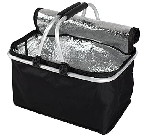 Faltbarer Einkaufskorb faltbar - Tragetasche Klappkorb Tragekorb klappbar Picknickkorb mit Deckel schwarz (Schwarz mit Isolationsschicht (2 Stuck))