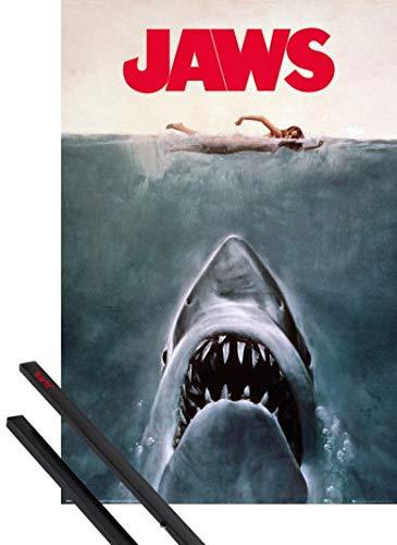 1art1 Tiburón Póster (91x61 cm) Key Art Y 1 Lote De 2 Varillas Negras