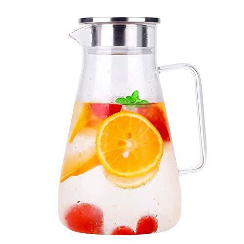 1800ml Karaffe Glas Krug Krug Bleifrei Borosilikatglas Wasserkocher mit Kristallgriff und Edelstahl Deckel für Milch, Rotwein, Kaltes Wasser, Fruchtsaft, heißen Kaffee, EIS Getränke Etc (1800 ml)