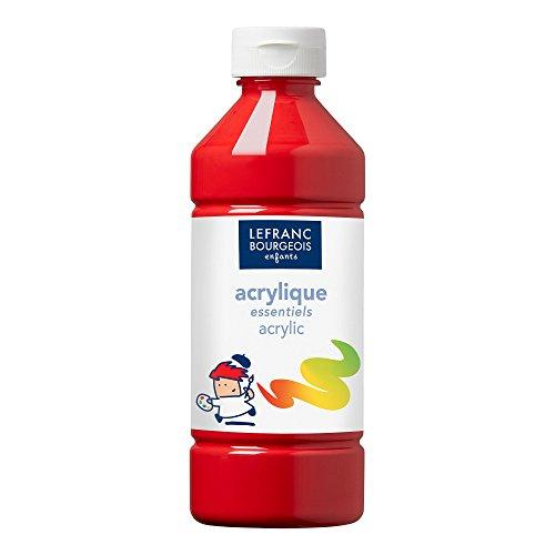 Lefranc & Bourgeois 188528 Value Kinder Acrylfarbe, auf Wasserbasis, mit Glanzeffekt, seidenglänzender Finish, deckend, Dosieröffnung, 500ml Flasche, primärrot