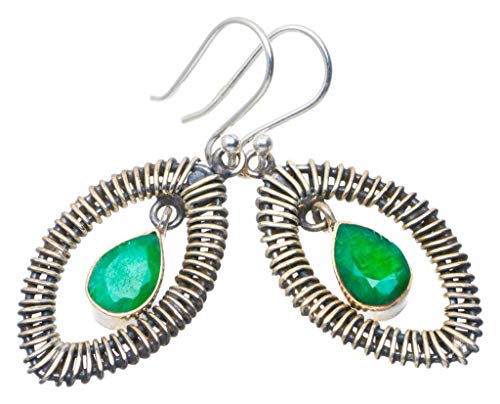 Natural Emerald Handmade Unique 925 Sterling Silver Earrings 1.75' AU0134
