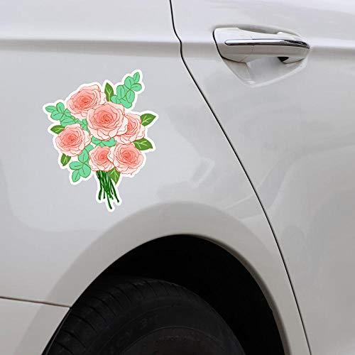 TJJL Car Stickers 12.8X15.8CM Pink Beautiful Roses Flowers Car Stickers Colored Decor Bumper