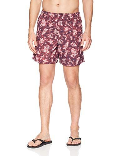 Columbia Pantalones Cortos con Estampado Backcast II para Hombre, Estampado de Hilo Rojo, pequeño x 6 Pulgadas