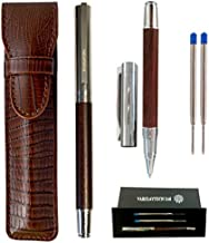 Rosewood Ballpoint Pen with PU Leather Pouch, 3 Pen Refills, and Gift-Box