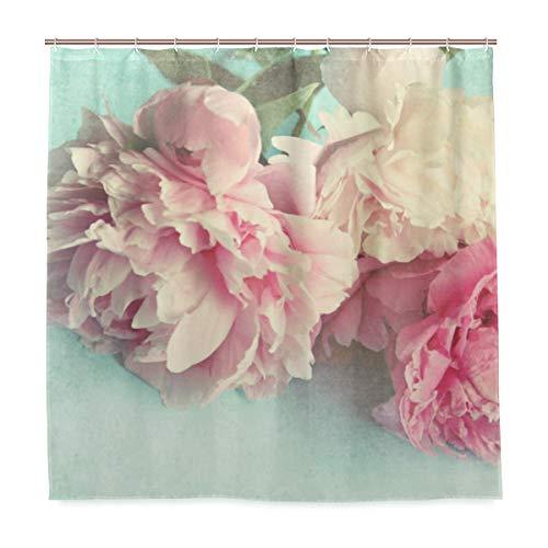 Duschvorhang, Shabby Chic, Pfingstrosen, Polyester, waschbar, strapazierfähig, für Badezimmer, mit 12 Haken, 182,9 x 182,9 cm