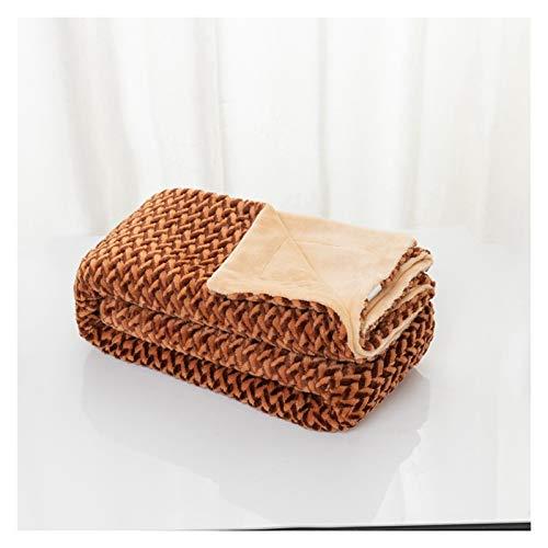 YALIXING Cation Manta de forro polar coral cálida y gruesa de felpa mullida manta de microfibra para sofá, cama, sala de estar, cuatro estaciones (color: marrón, tamaño: 120 x 150 cm)
