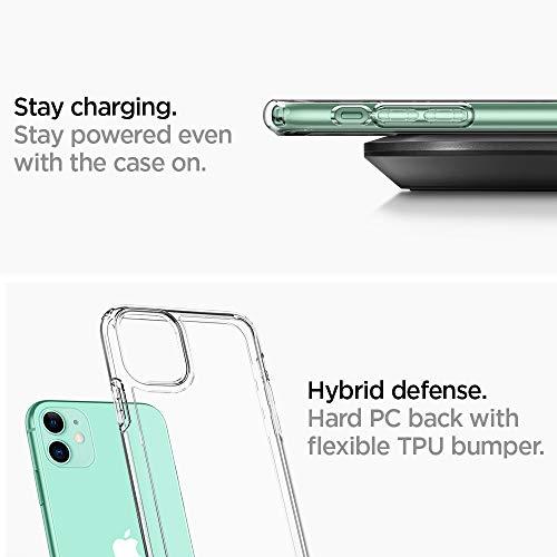 【Spigen】iPhone11ケース6.1インチ対応高透明クリアカバー米軍MIL規格取得耐衝撃カメラ保護衝撃吸収全面PCTPU二層構造Qi充電ワイヤレス充電アイフォン11ケースシュピゲンウルトラ・ハイブリッド076CS27185(クリスタル・クリア)