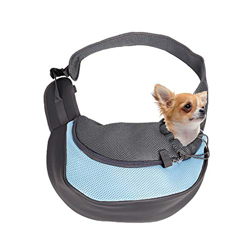 LxwSin Perro Bandolera Portátil, Mochila Viaje Mascotas Manos Libres, Bolso de Hombro Malla Transpirable para Perros y Gatos Pequeñas, Mochila de Viaje para Mascotas Al Aire Libre para Caminar, Viajes