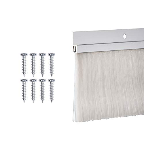 TMH Door Brush Sweep - 3 Inch Brush x 60 Inches Long, Aluminum (Silver)
