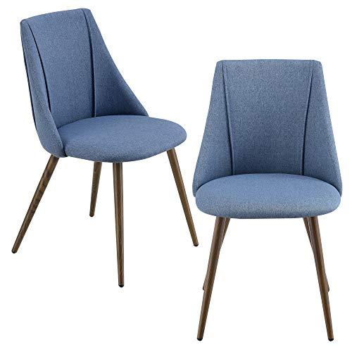 [en.casa] Set da 2 Sedie con Rivestimento in Tessuto 2 Poltroncine Imbottite con Gambe in Metallo - Blu Scuro