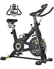Indoor fietsen fiets stationaire hometrainer, comfortabele zitkussen, iPad houder met LCD-monitor voor thuis cardio workout fiets