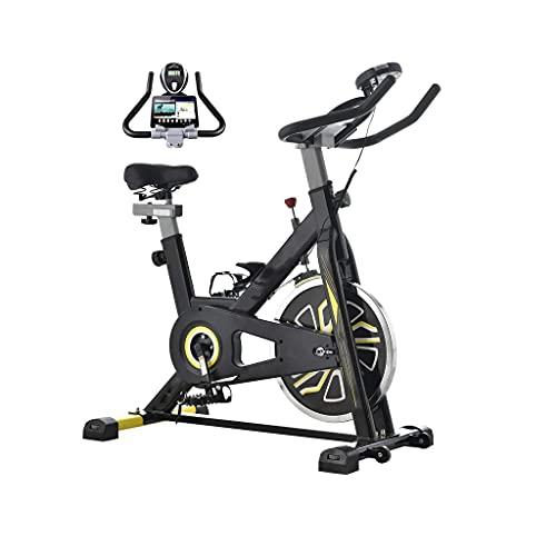 DMSA Bicicleta estacionaria de Bicicleta de Ciclismo Interior, cómodo cojín de Asiento, Soporte para iPad con Monitor LCD para Bicicleta de Entrenamiento de Cardio
