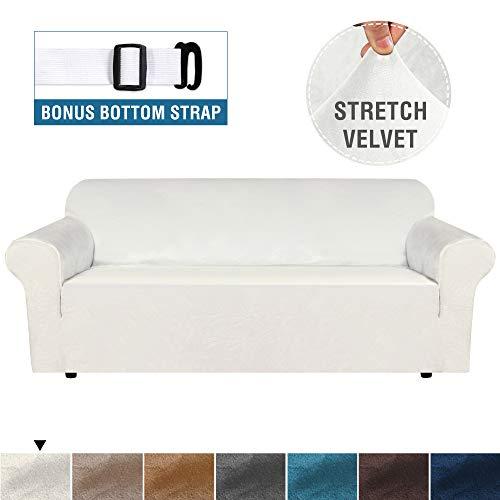 Real Velvet Plush Sofa Cover, Sofa Slipcover for 3 Cushion Couch Velvet High Stretch Sofa Cover/Slipcover(3 Seater, Elfenbein)
