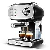 Bonsenkitchen Espressomaschine, 15 Bar, 900W, für 1-2 Tassen, Siebträger mit Doppelauslauf, Milchaufschäumdüse, Abnehmbares Wassertank, für Espresso, Cappuccino und Latte Machiato