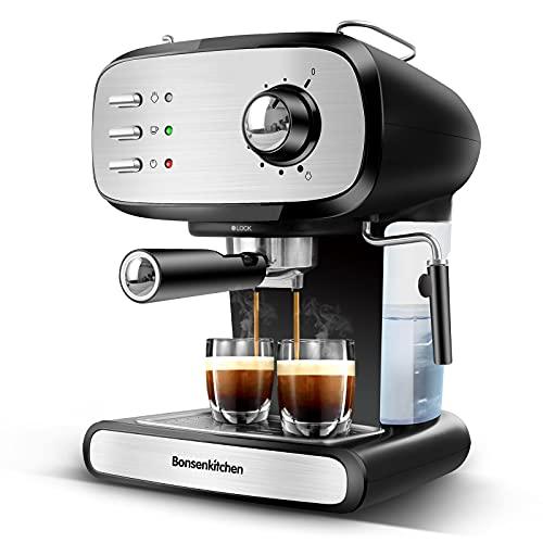 Bonsenkitchen Cafetera espresso con portafiltros, cafetera de acero inoxidable de 900 W de alto rendimiento, máquina portafiltros de 15 bares para espresso y capuchino ,1 o 2 tazas (1.2L)