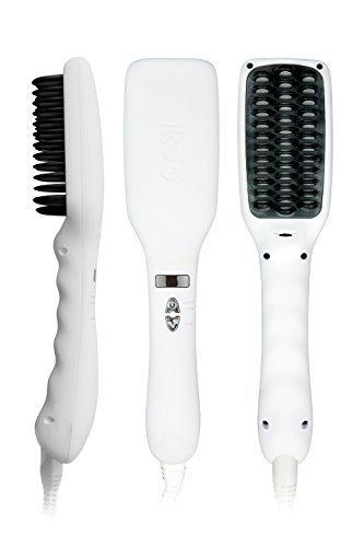 ikoo E-Styler - Ionen Glättbürste in Reisegröße, Haarglätter mit Kamm, Glätteisen für seidig glatte Haare, Bürste, Glättungsbürste mit Keramikplättchen inkl. hitzebeständigem Beutel - Platinum White